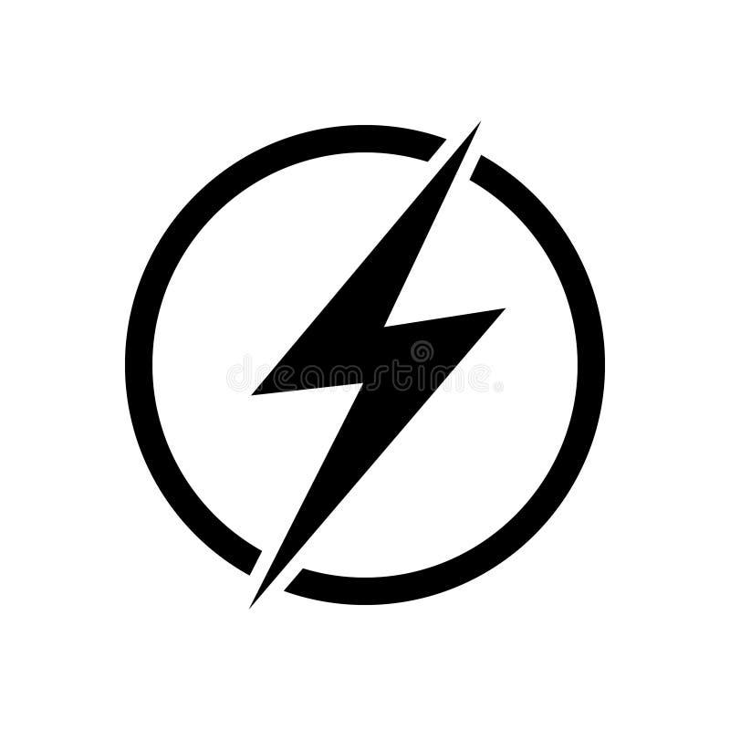 De illustratie van het bliksempictogram, het ontwerpelement van het stroom vectorembleem Energie en donder het concept van het el vector illustratie