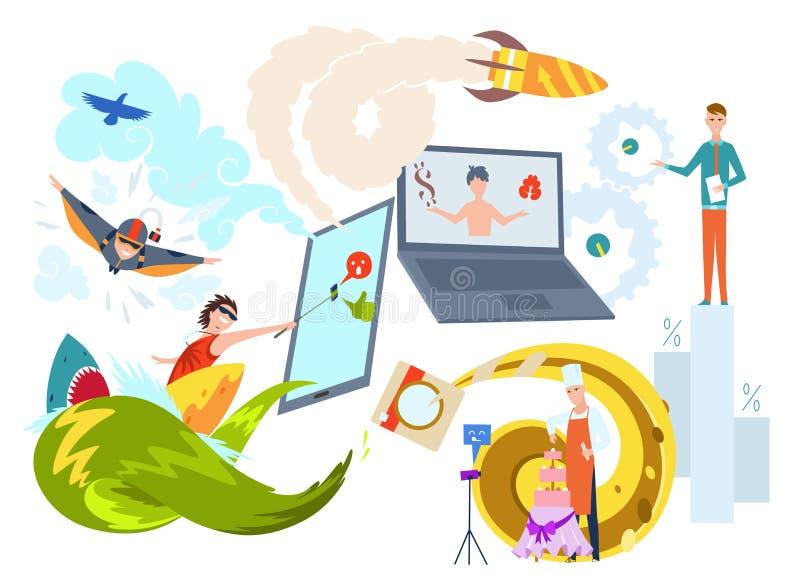 De illustratie van het Bloggingsconcept van jongeren laptops met behulp van en tabletten die voor lezingsbloggen en websites Vlak stock illustratie