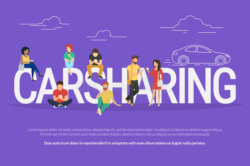 De illustratie van het carsharingsconcept royalty-vrije illustratie