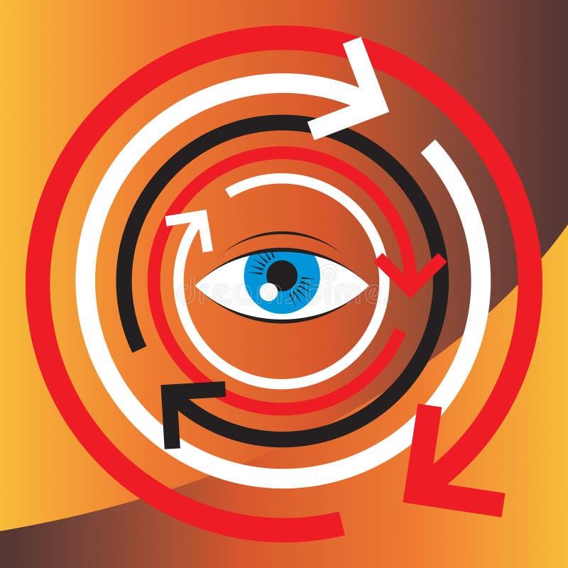 De illustratie van het concept van menselijke visie en psycholog stock illustratie