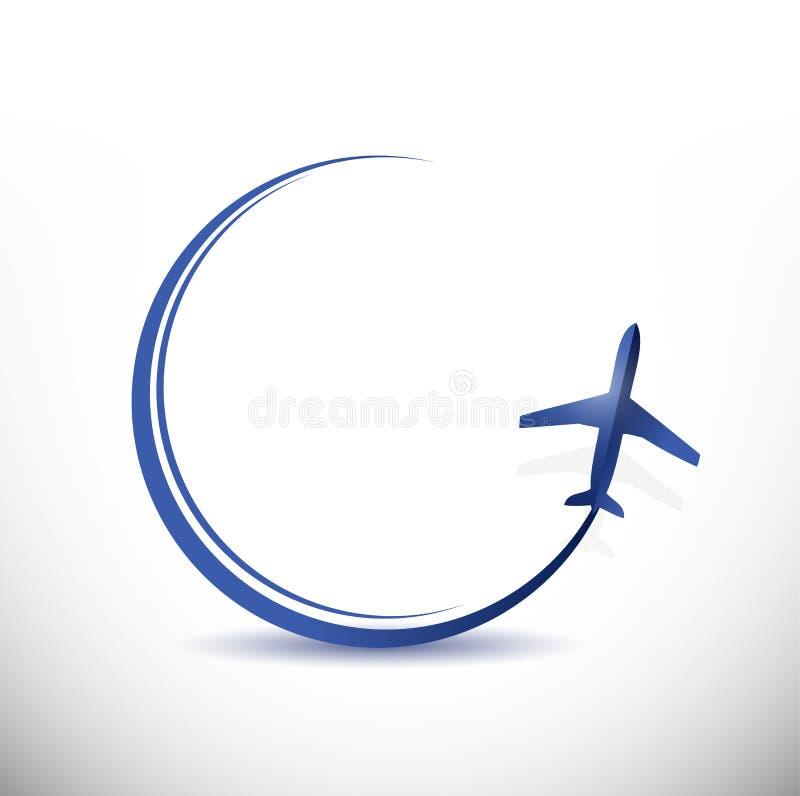 De illustratie van het de bestemmingsconcept van de vliegtuigreis vector illustratie