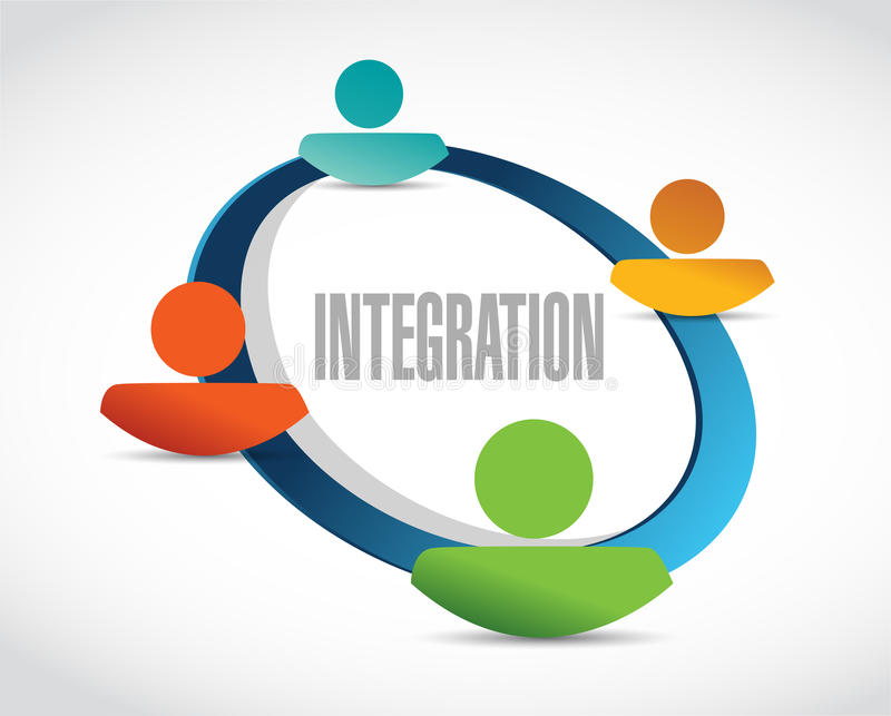 de illustratie van het de cyclusteken van integratiemensen stock illustratie