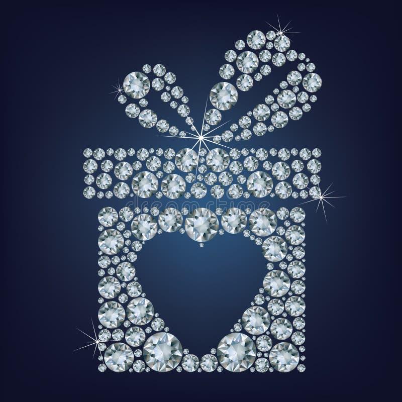 De illustratie van het de dagconcept van Valentine van gift huidig met hartsymbool maakte omhoog heel wat diamanten op de zwarte  royalty-vrije illustratie