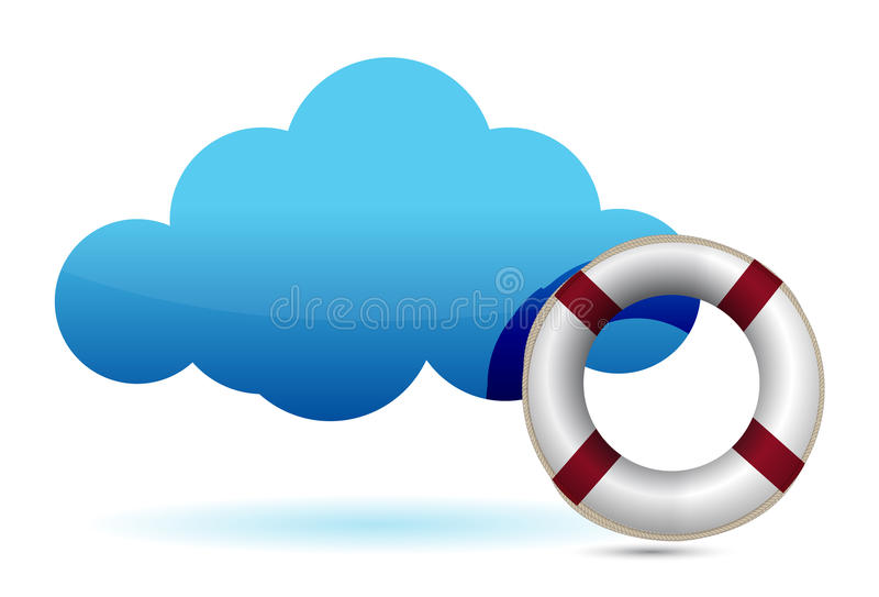 De illustratie van het de gegevensverwerkingsS.O.S. van de wolk lifesaver stock illustratie