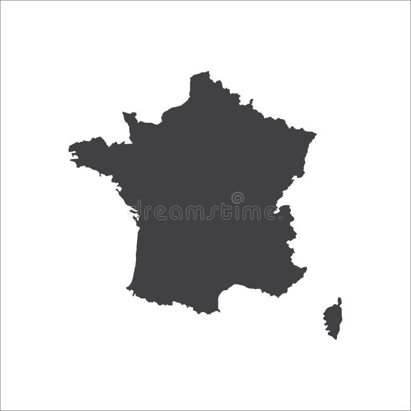 De illustratie van het de kaartsilhouet van Frankrijk vector illustratie