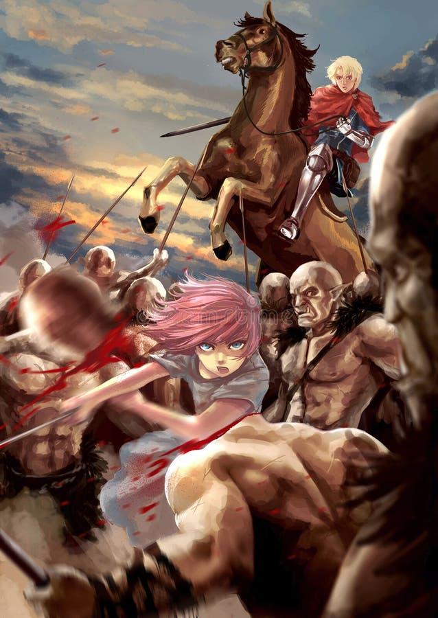 De illustratie van het fantasiebeeldverhaal van een vrouwelijk strijdersmeisje en een mannetje vector illustratie