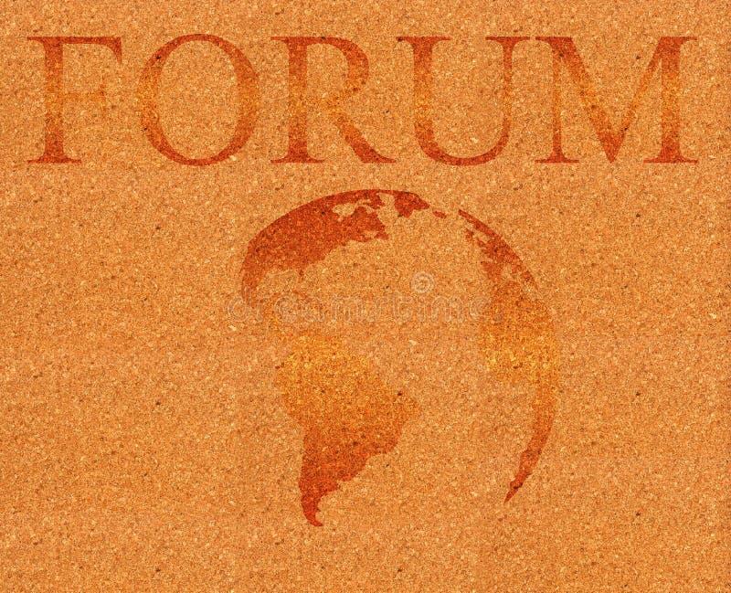 De illustratie van het forum op corkboard stock illustratie