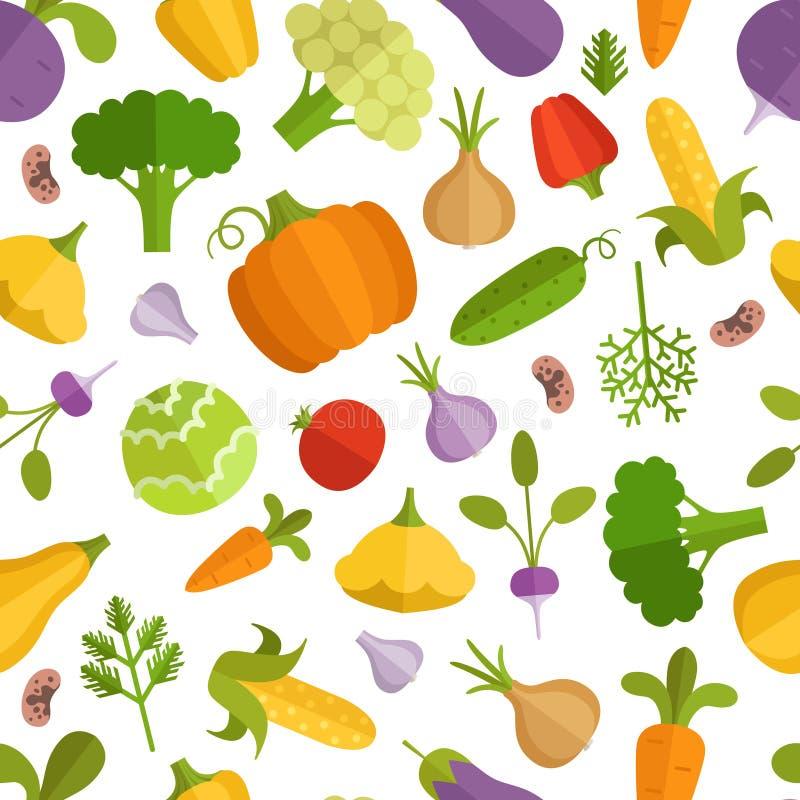 De illustratie van het groentenbeeldverhaal Vector naadloos patroon royalty-vrije illustratie