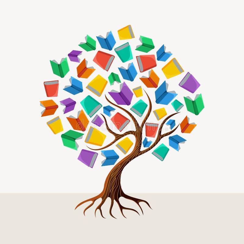 De illustratie van het het boekconcept van de onderwijsboom vector illustratie