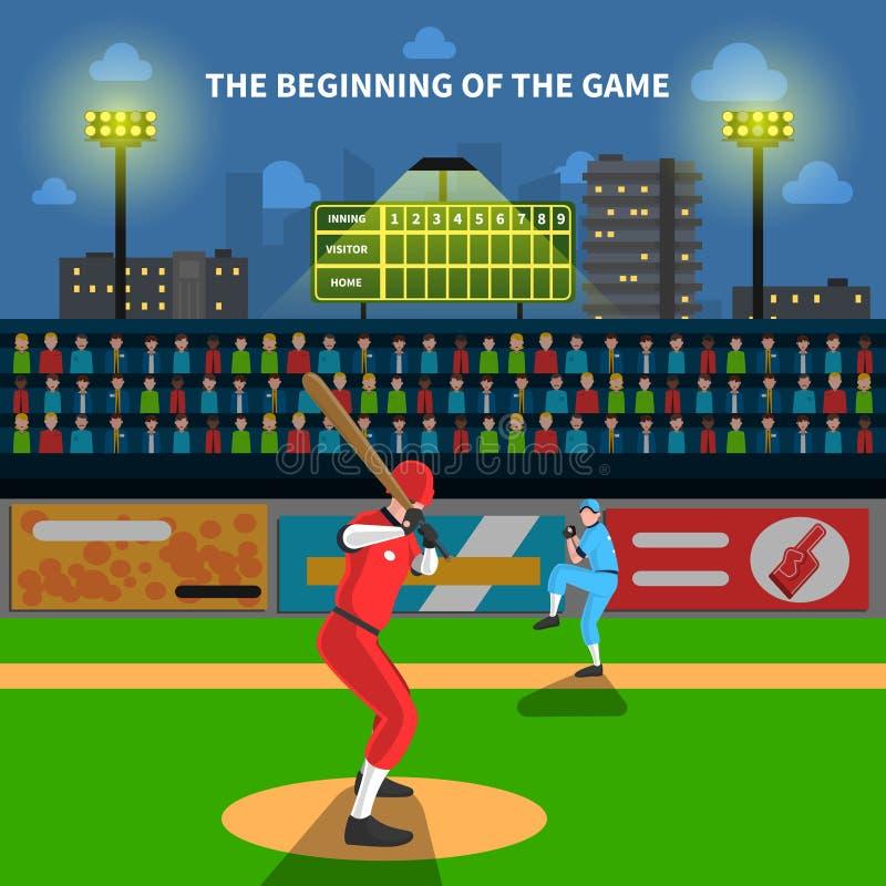 De illustratie van het honkbalspel stock illustratie