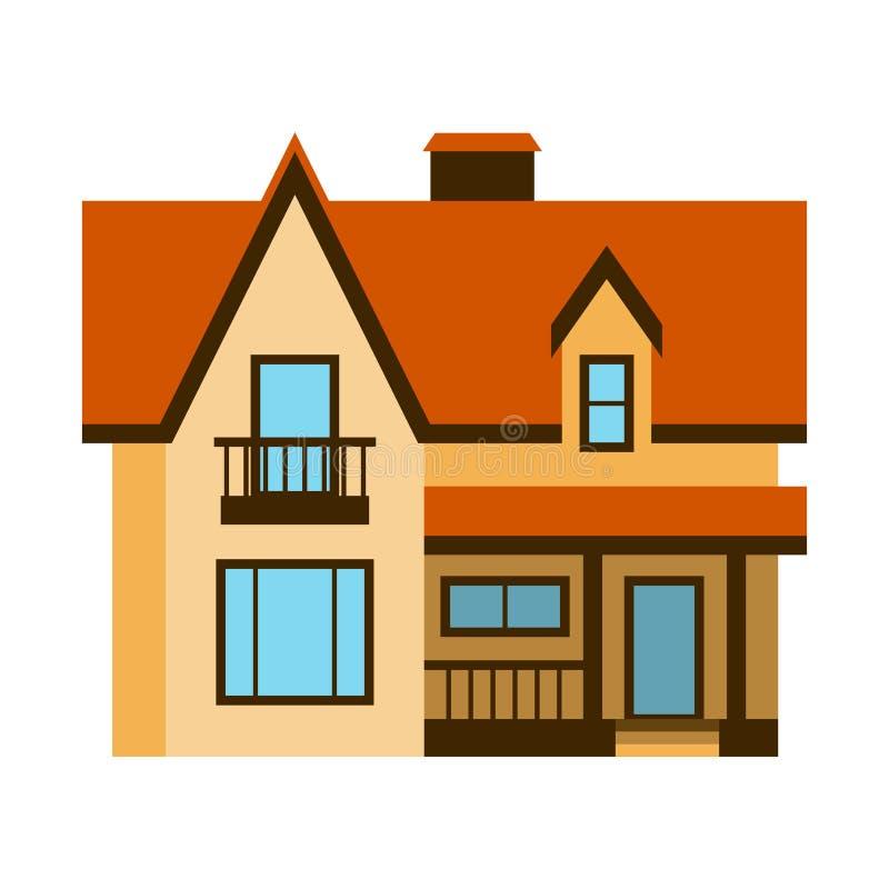 De illustratie van het huis vooraanzicht vector van de het huisbouw van de de bouwarchitectuur van de het landgoedwoning het dakf stock illustratie