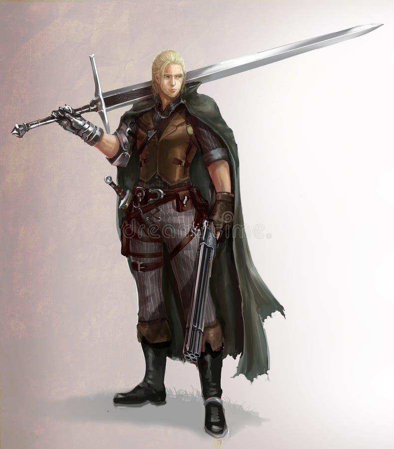 De illustratie van het karakterbeeldverhaal van een mannelijke fantasiestrijder met zwaard en jachtgeweer vector illustratie