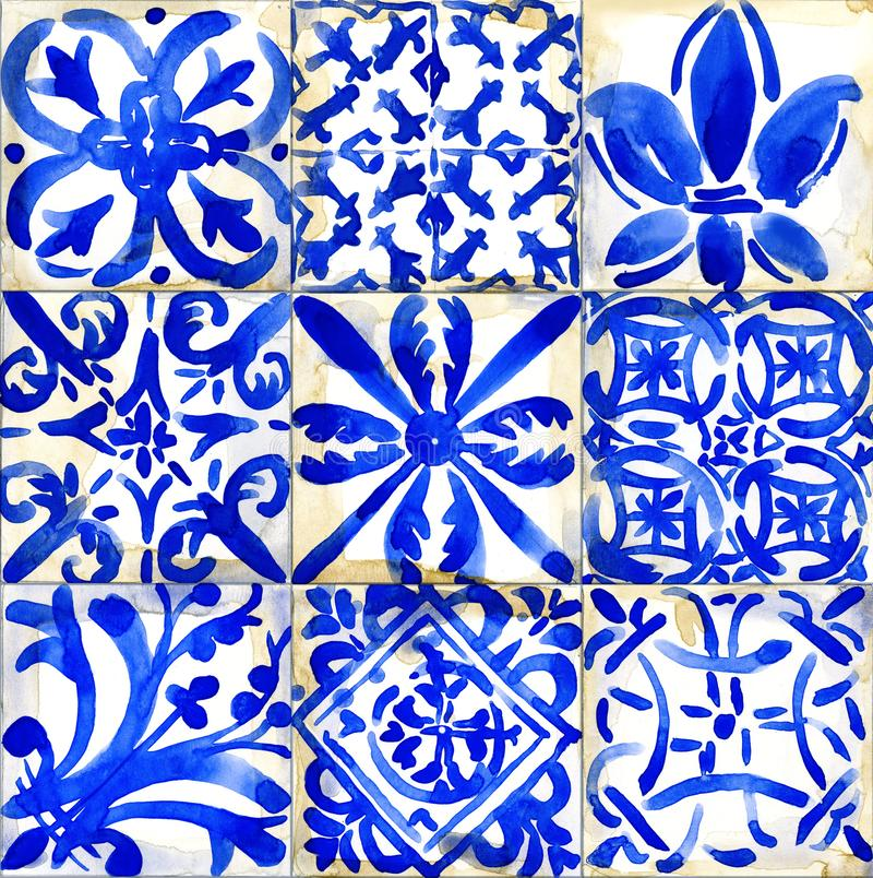 De illustratie van het keramische tegelsontwerp Waterverf geometrisch naadloos patroon royalty-vrije illustratie