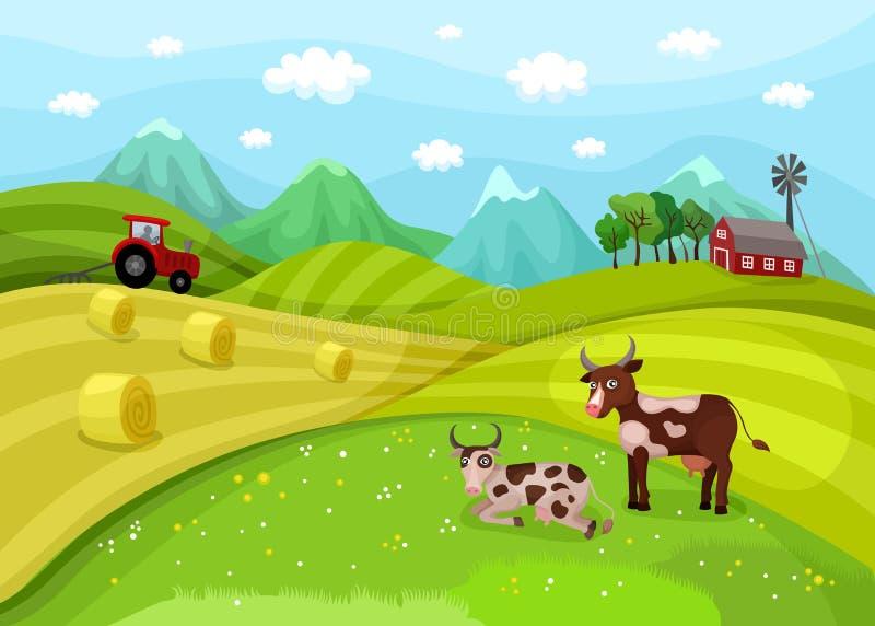 De illustratie van het landbouwbedrijflandschap met koeien royalty-vrije illustratie