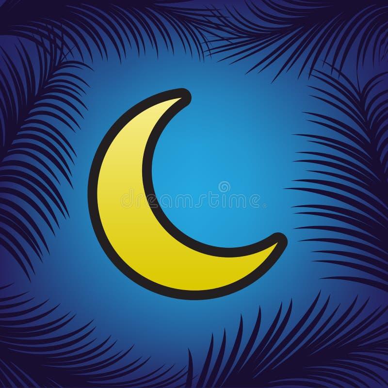 De illustratie van het maanteken Vector Gouden pictogram met zwarte contour a vector illustratie