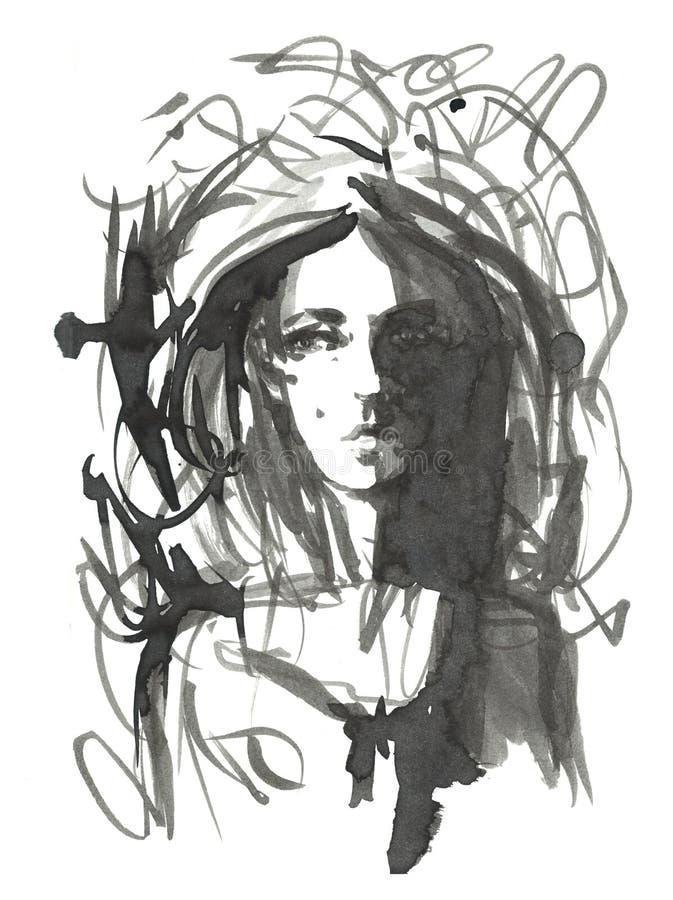 De illustratie van het maniermeisje Hand getrokken portret van een jong vrouwen modelgezicht schets, teller, waterverf stock illustratie