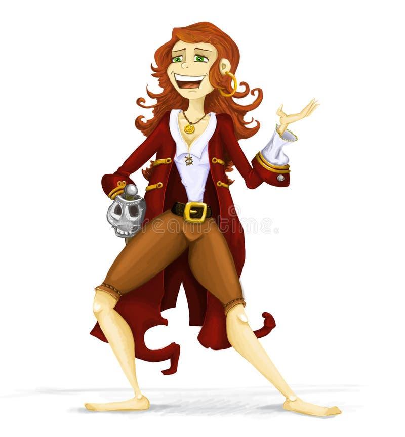 De Illustratie van het Meisje van de piraat stock foto