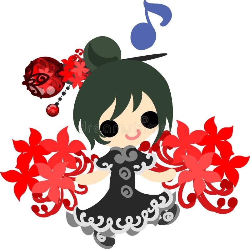 De illustratie van het meisje van de spinlelie royalty-vrije illustratie