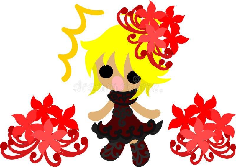 De illustratie van het meisje van de spinlelie stock illustratie