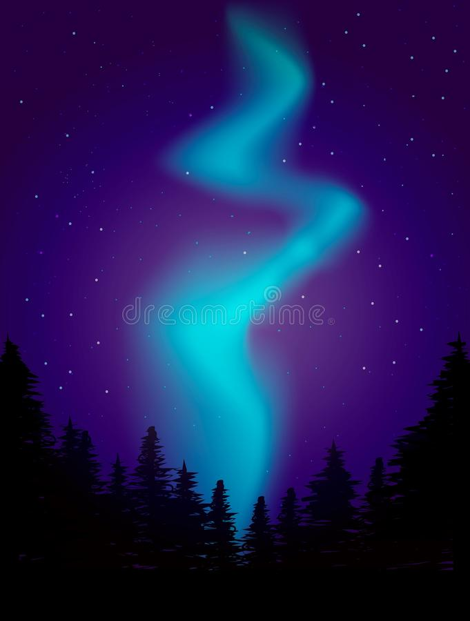 De Illustratie van het nachtlandschap dageraadlichten royalty-vrije illustratie