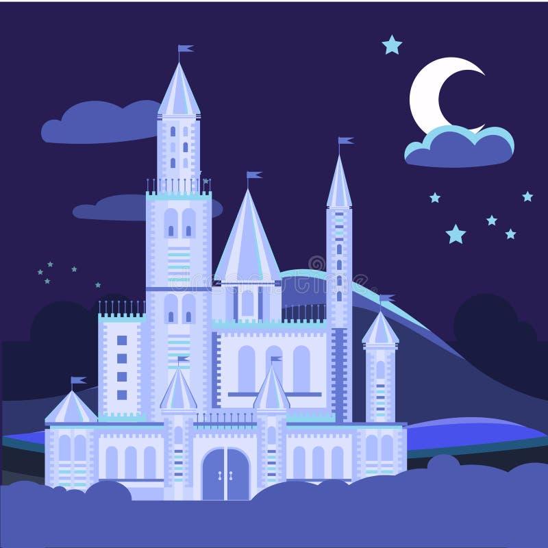 De illustratie van het nachtlandschap met kasteelvector royalty-vrije illustratie
