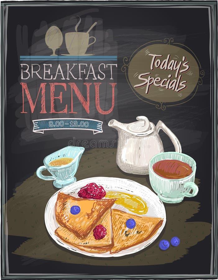 De illustratie van het ontbijtmenu op een bord vector illustratie