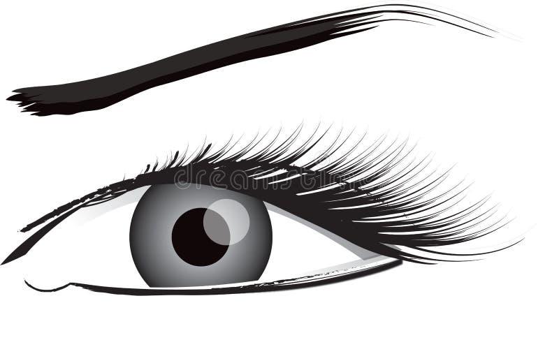 De Illustratie van het oog in Zwart-wit stock illustratie