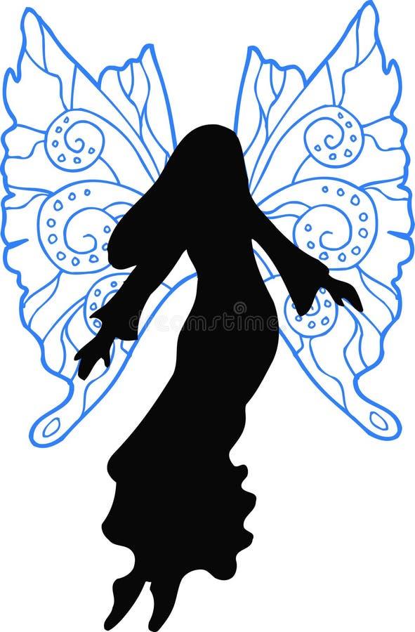 De Illustratie van het Silhouet van de fee royalty-vrije illustratie
