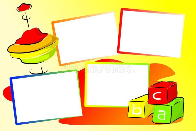 De illustratie van het Speelgoed van het plakboek - Kubussen en bovenkant vector illustratie