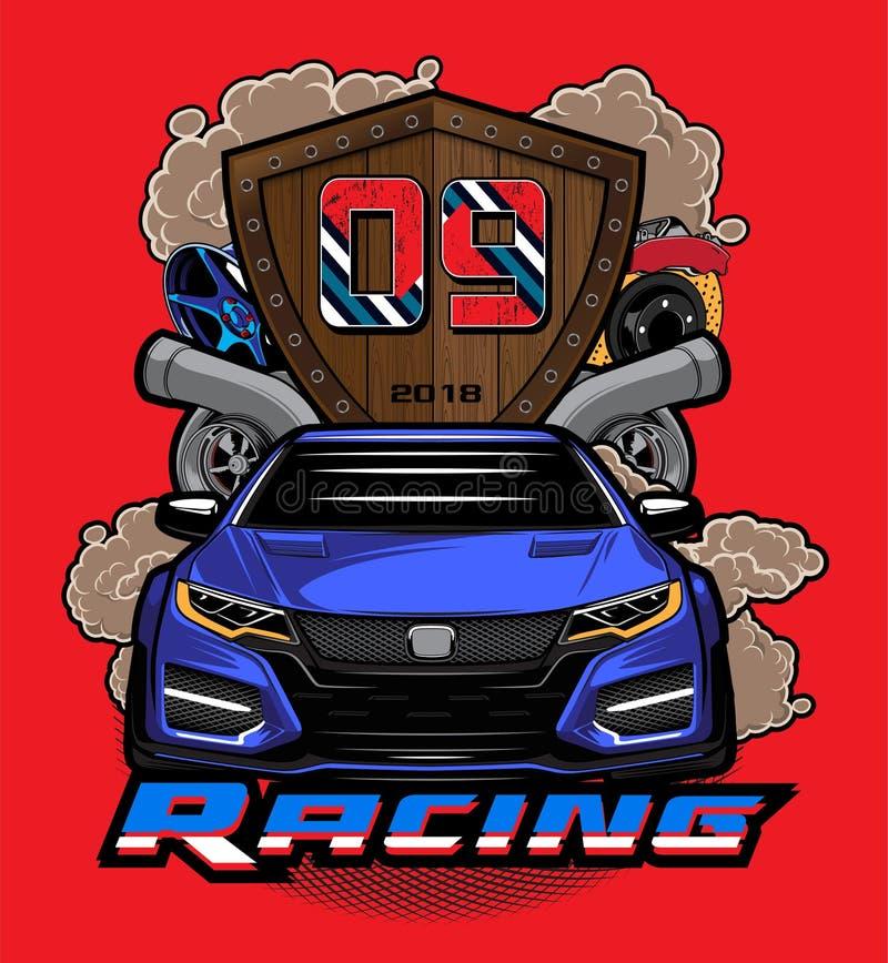De illustratie van het sportwagenembleem Raceautoembleem op rode backg royalty-vrije illustratie