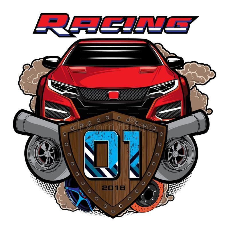De illustratie van het sportwagenembleem Raceautoembleem op witte bac vector illustratie