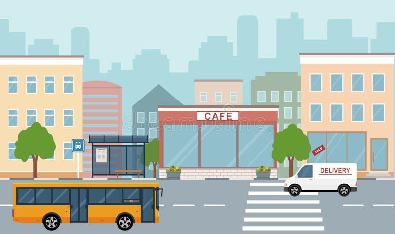 De illustratie van het stadsleven met huisvoorgevels, weg en andere stedelijke details stock illustratie