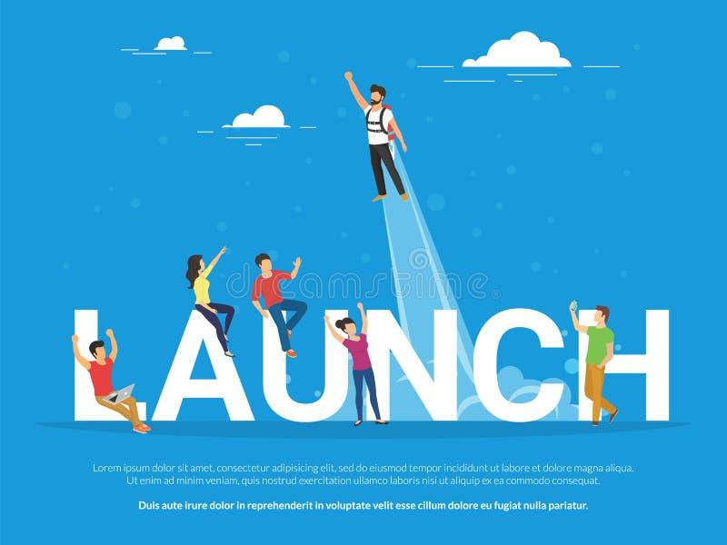 De illustratie van het startlanceringsconcept van bedrijfsmensen die als team samenwerken royalty-vrije illustratie