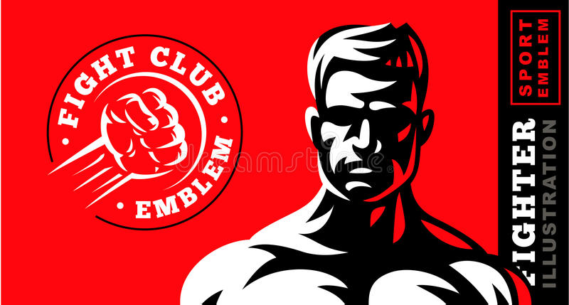 De illustratie van het vechtersembleem op rode achtergrond royalty-vrije illustratie