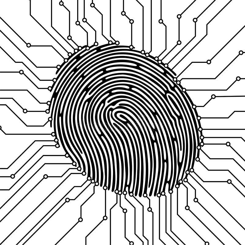 De illustratie van het vingerafdrukaftasten Het concept van de veiligheid Biometrische Identificatie Vector illustratie vector illustratie