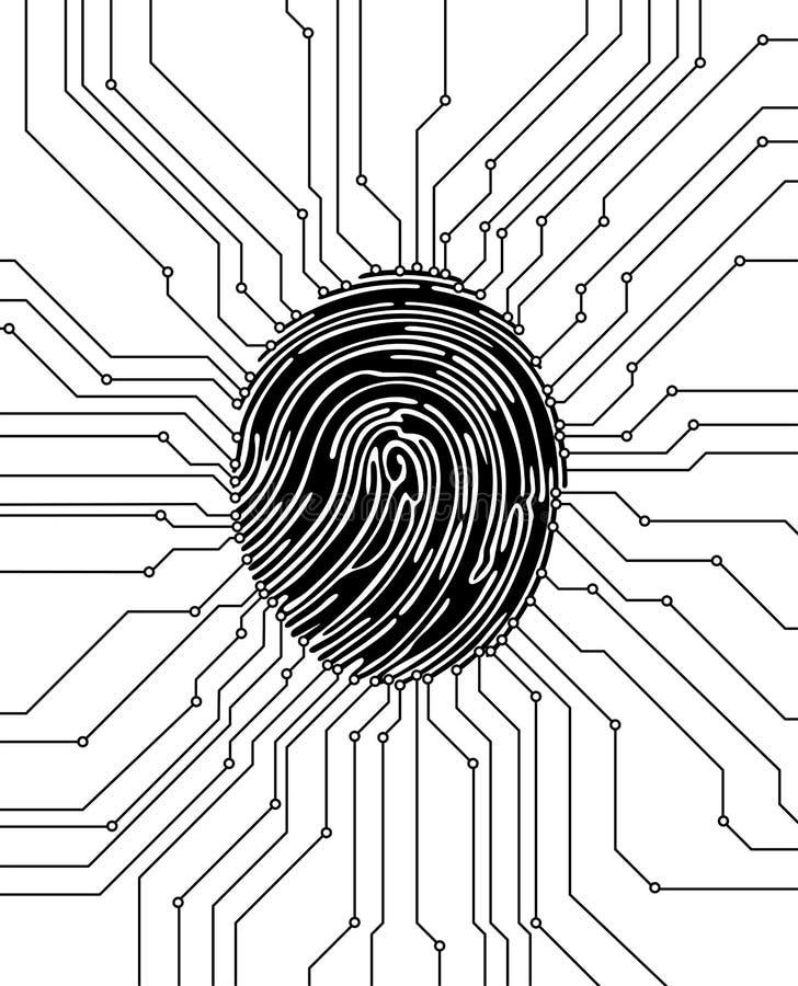 De illustratie van het vingerafdrukaftasten Het concept van de veiligheid Biometrische Identificatie Vector illustratie royalty-vrije illustratie