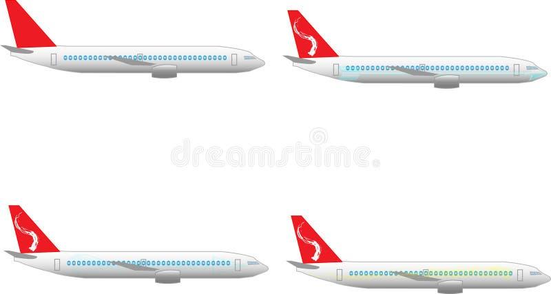 De illustratie van het vliegtuig met verschillende cijfers aangaande het royalty-vrije stock afbeelding