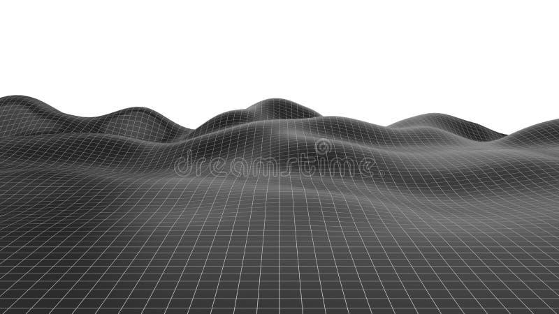 De illustratie van het Wireframelandschap grote golvende oppervlakte, 3d illustratie vector illustratie