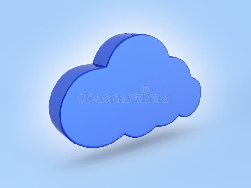 De illustratie van het wolkenteken in blauw op blauwe 3d gradiëntachtergrond royalty-vrije illustratie