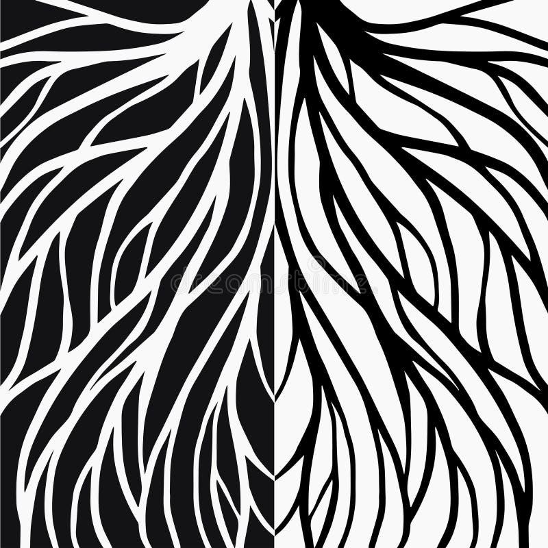 De illustratie van het wortelpatroon voor textiel en druk royalty-vrije illustratie
