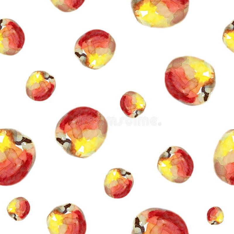 De illustratie van het de zomerfruit Waterverf naadloos patroon met rode appelen royalty-vrije illustratie