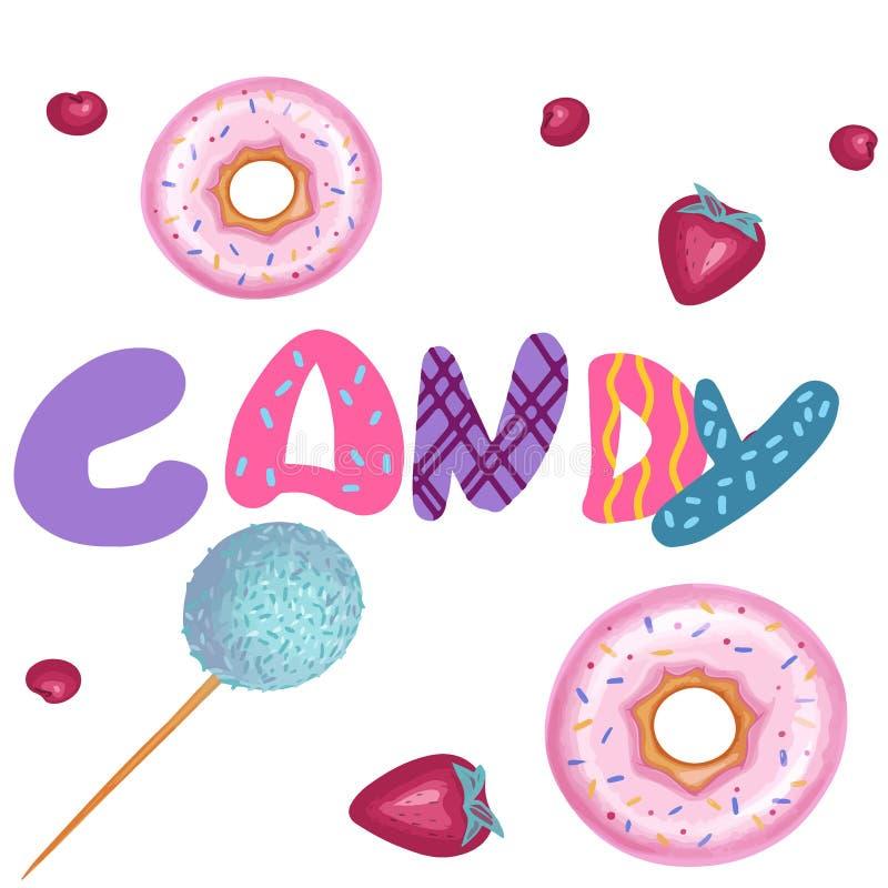 De illustratie van het de zomervoedsel, reeks van suikergoedbar royalty-vrije illustratie