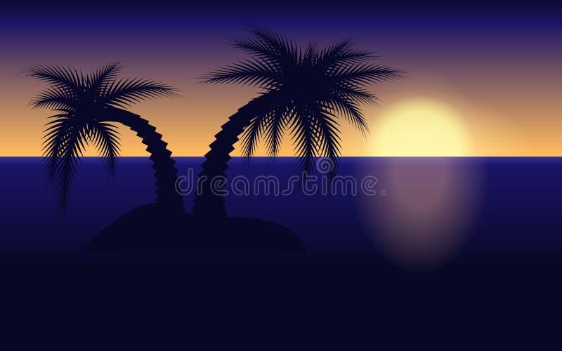 De Illustratie van het zonsondergangeiland royalty-vrije stock fotografie