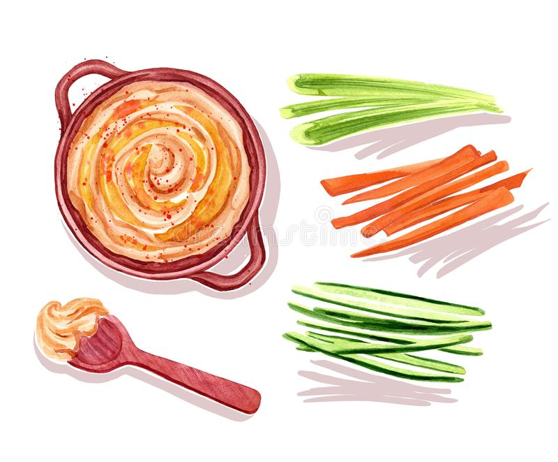 De illustratie van de Hummuswaterverf met groenten en lepel vector illustratie