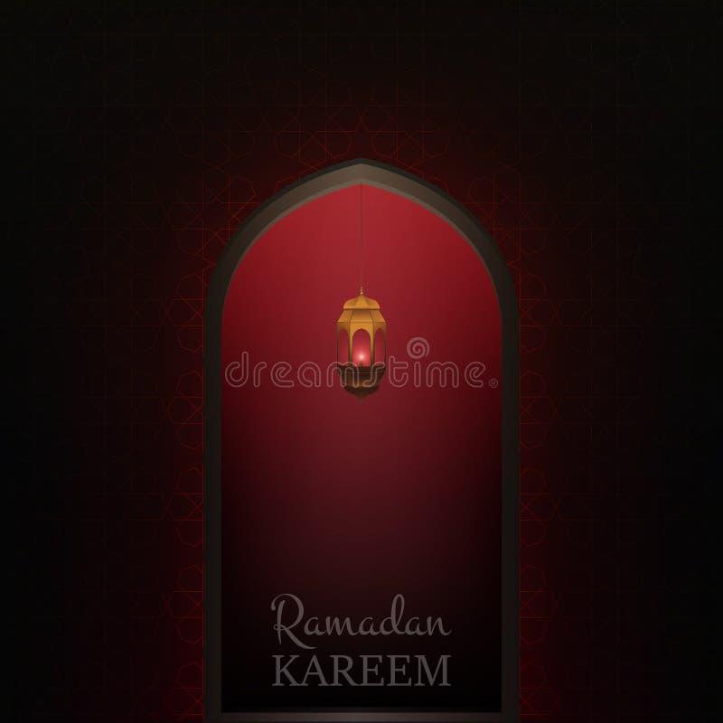 De Illustratie van Kareem van de Ramadan Gloeiende deur met vliegend glanzend deeltjes en patroon