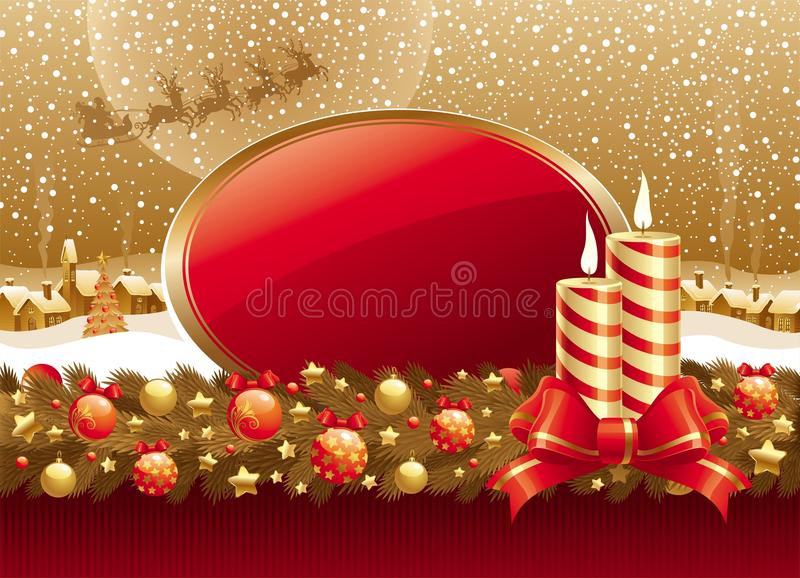 De illustratie van Kerstmis met kaarsen, boog & frame royalty-vrije illustratie
