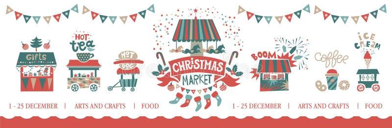 De illustratie van de Kerstmismarkt stock illustratie