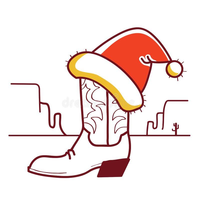De illustratie van Kerstmiswilde westennen met cowboylaars en Kerstmanhoed op Amerikaanse woestijn vector illustratie
