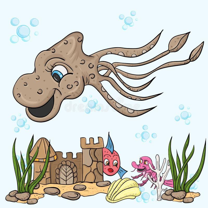De illustratie van kinderen van een grote octopuspijlinktvis stock illustratie