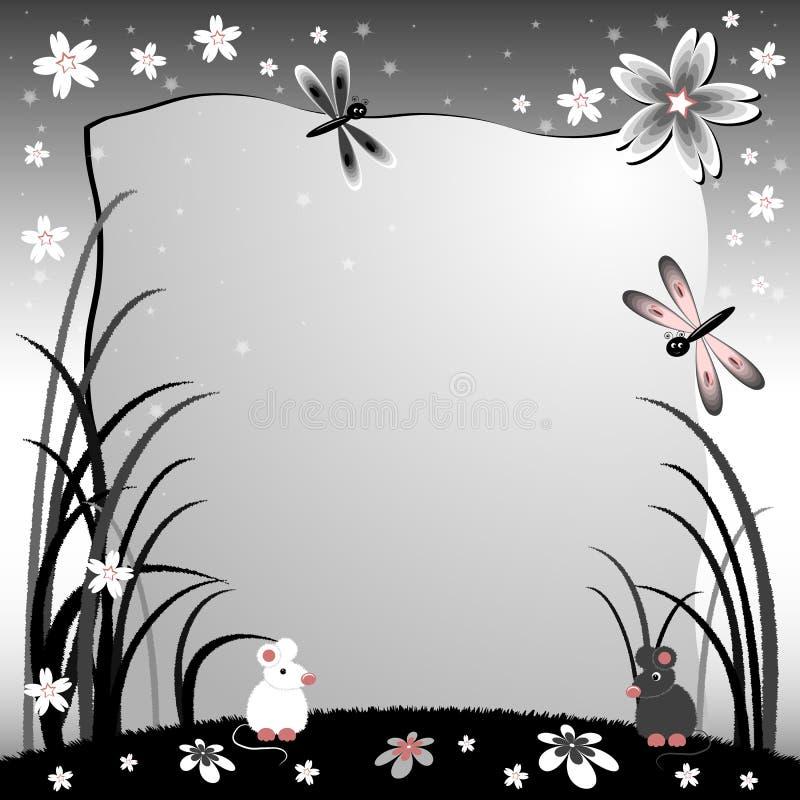 De illustratie van kinderen met etiket voor tekst Gazon bij nacht met muizen Zwart-witte kleuren vector illustratie